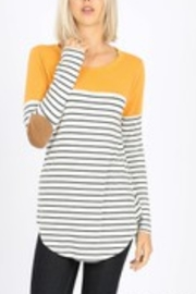 Lyn -Maree's Elbow Patch Stripe Tee - Product Mini Image