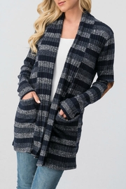 Trend:notes Elbow-Patch Striped Cardigan - Product Mini Image