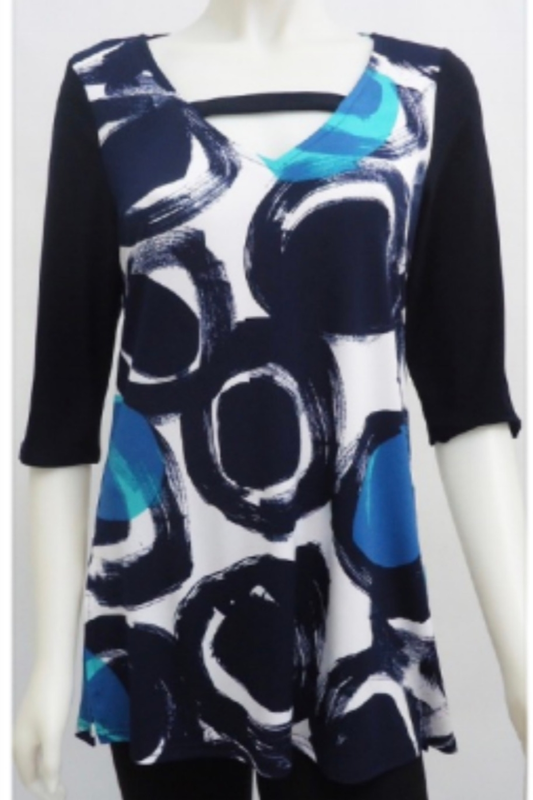 Sophie A Elbow sleeve black, navy tunic top - Main Image