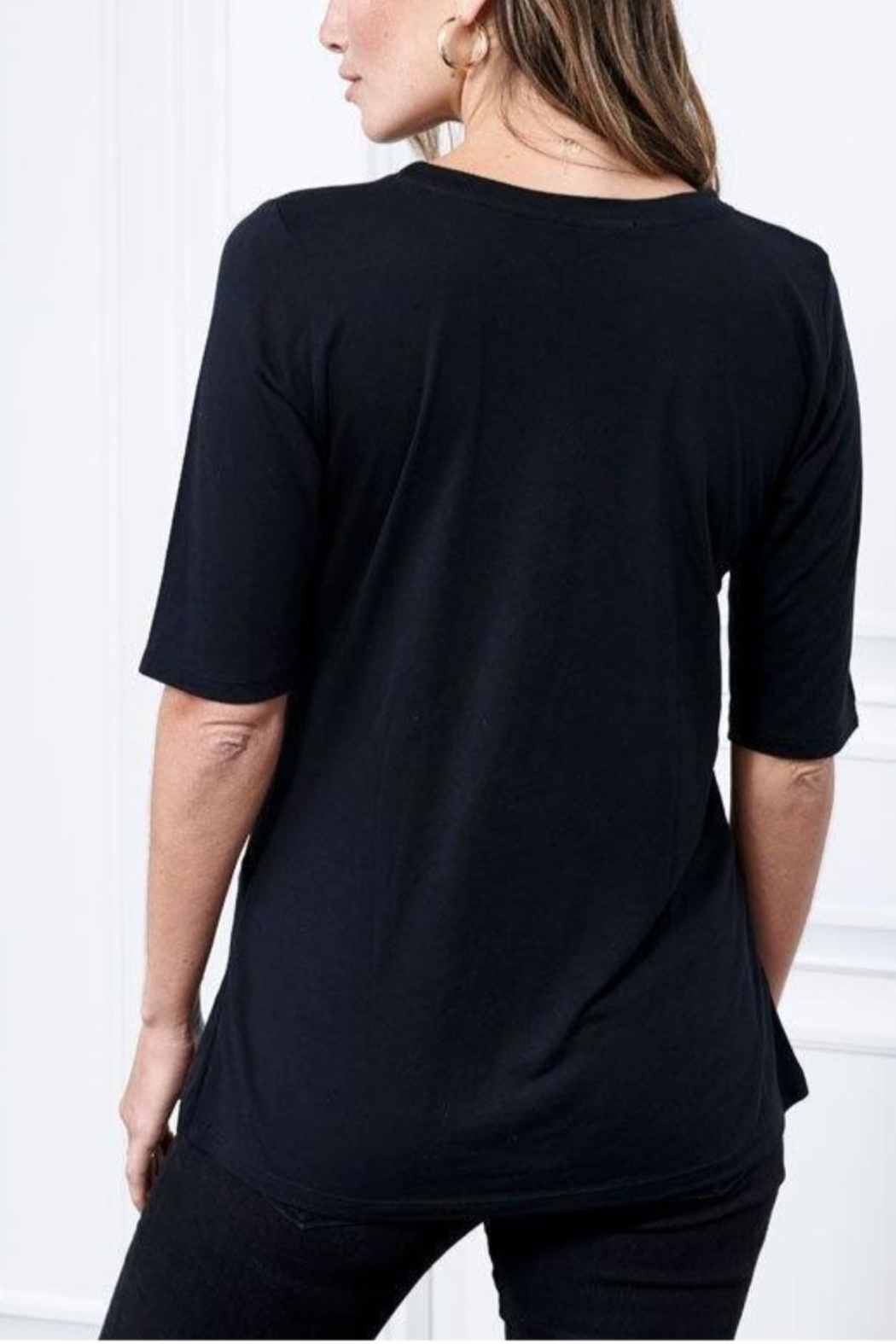 Cashmere N Tee Elbow-Sleeve Crew-Neck - Front Full Image