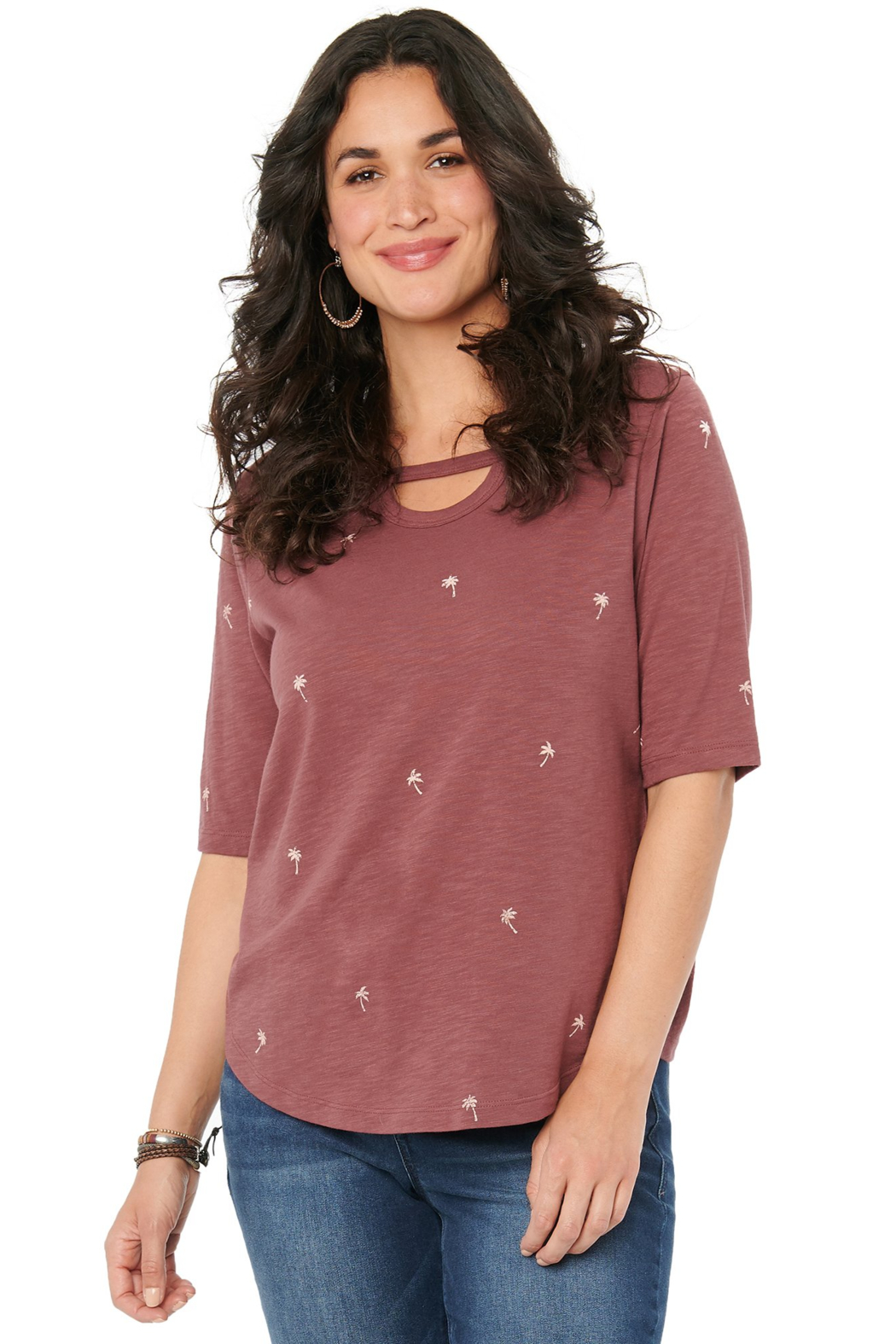 Democracy  Elbow Sleeve Cutout with Palm Tree Print Tee - Front Cropped Image