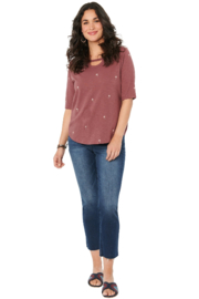 Democracy  Elbow Sleeve Cutout with Palm Tree Print Tee - Front full body