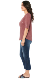 Democracy  Elbow Sleeve Cutout with Palm Tree Print Tee - Side cropped