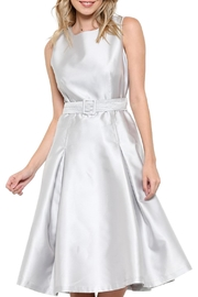 Elegance by Sarah Ruhs Belted Silver Dress - Front cropped