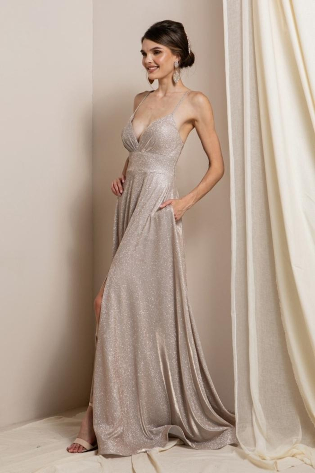 Elegance by Sarah Ruhs Glitter Jersey Ballgown - Front Full Image