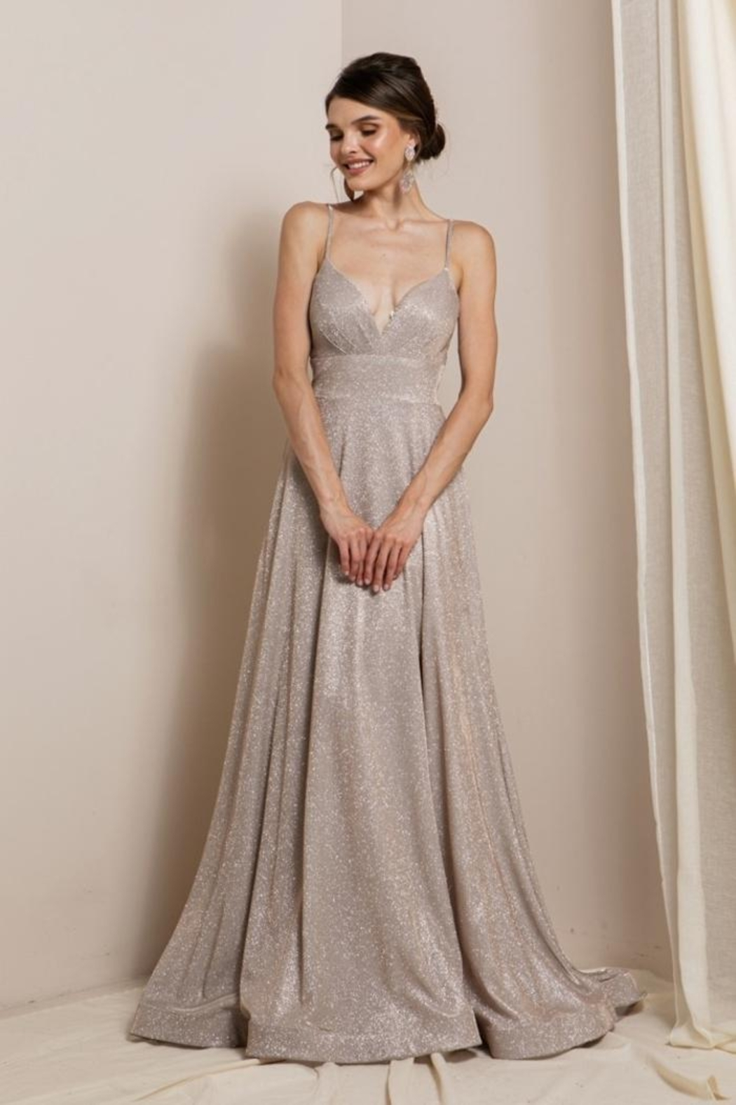 Elegance by Sarah Ruhs Glitter Jersey Ballgown - Side Cropped Image