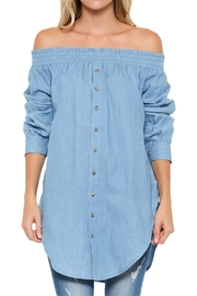 Elegance by Sarah Ruhs Off-Shoulder Denim Top - Product Mini Image