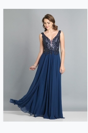 Dave and Johnny Elegant Navy Gown - Product Mini Image