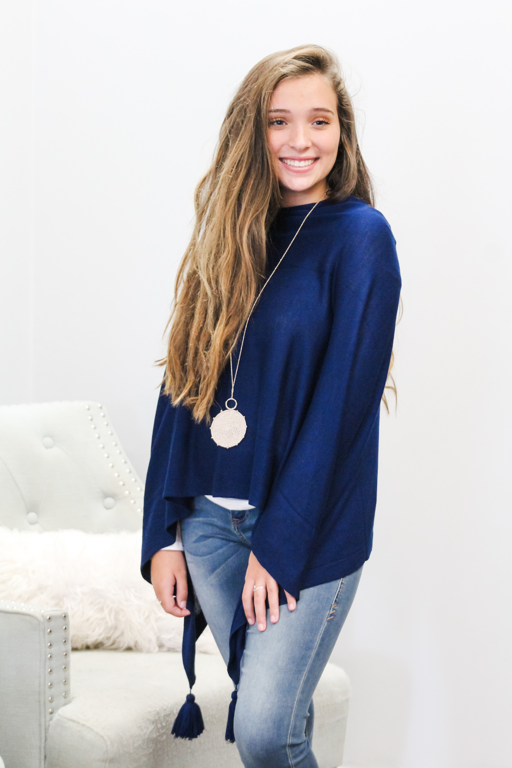Mainstreet Collection Elegant Tassel Poncho - Side Cropped Image
