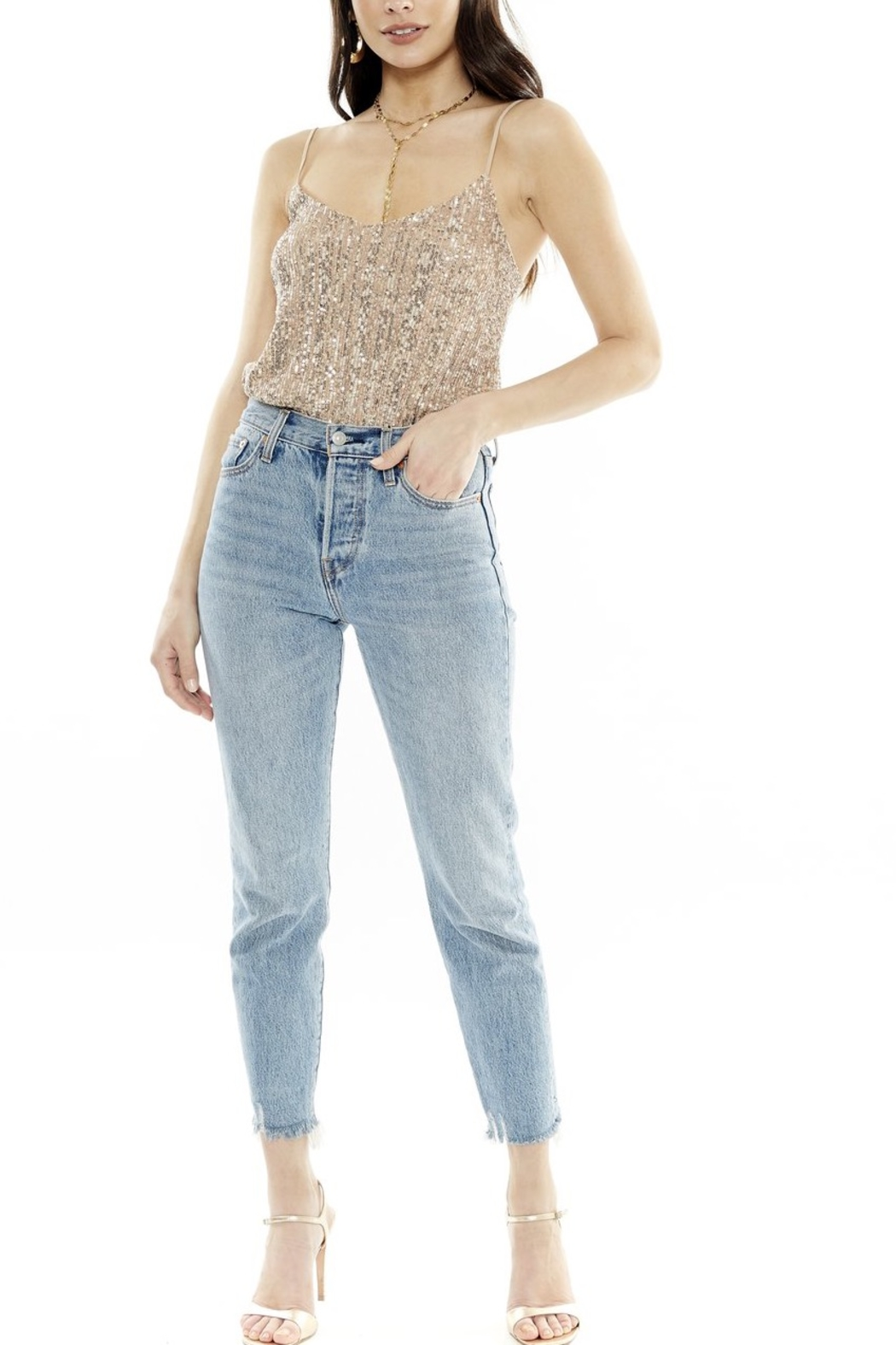 4SI3NNA Eleigh Sparkle Bodysuit - Front Cropped Image
