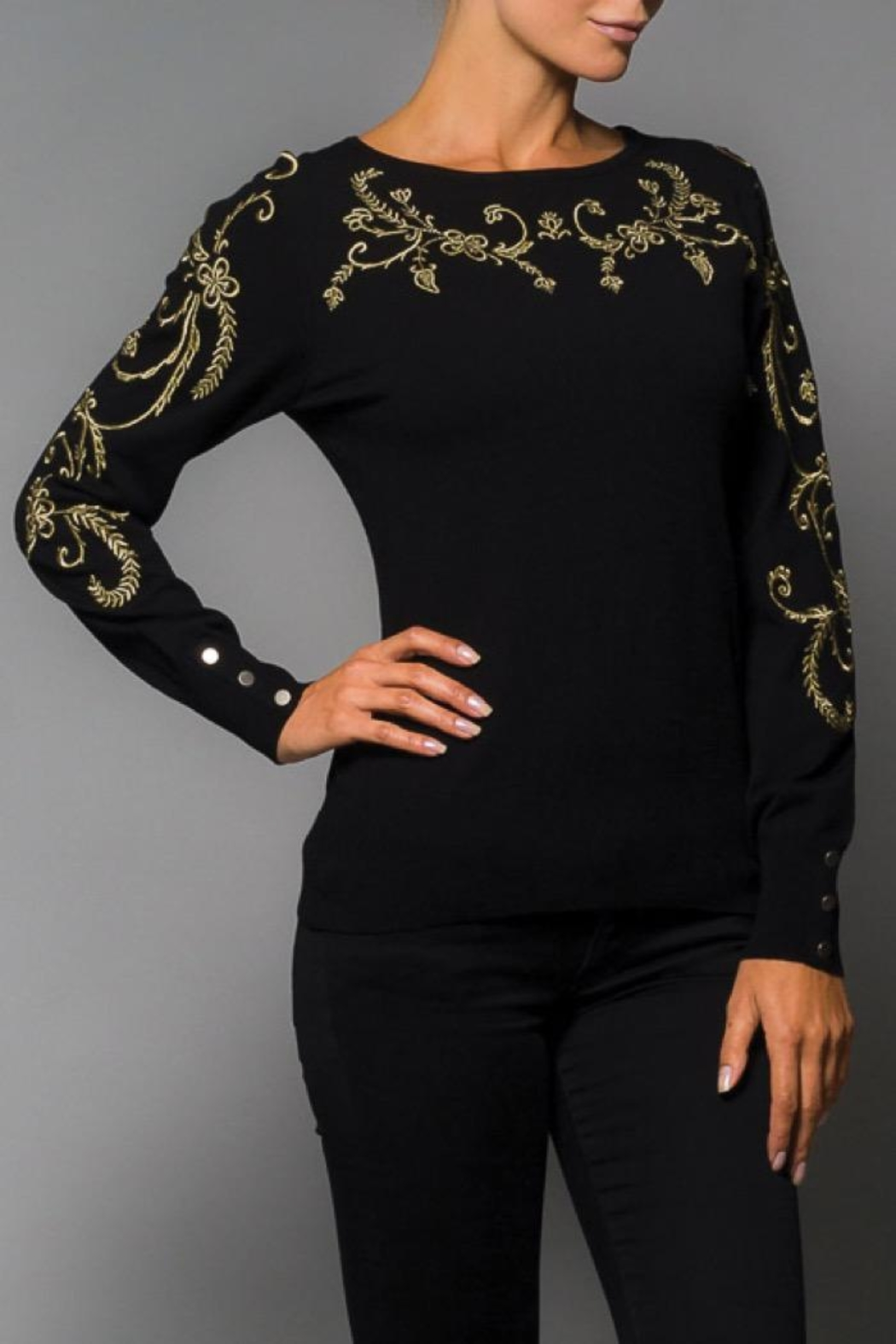Elena Wang Black Embroidered Sweater - Main Image