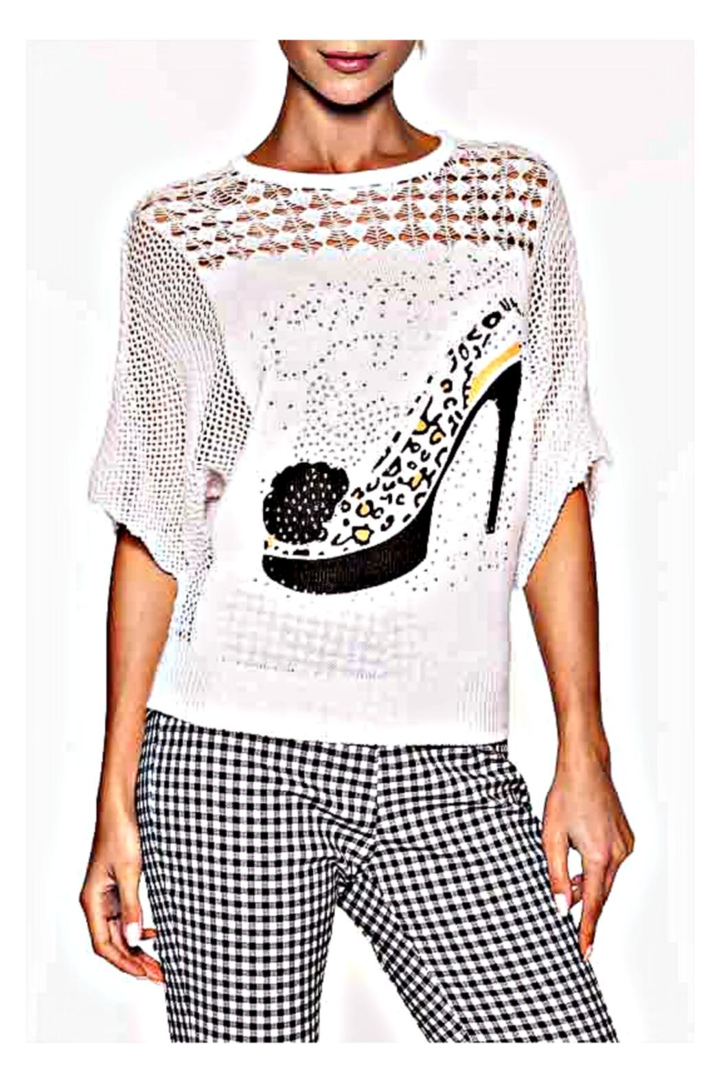 Elena Wang Bling Shoe Sweater - Front Cropped Image