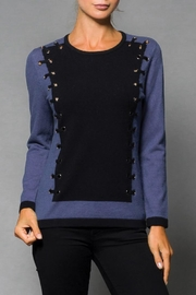 Elena Wang Blue Combo Sweater - Product Mini Image