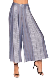 Elena Wang Blue Striped Crop Pant - Product Mini Image