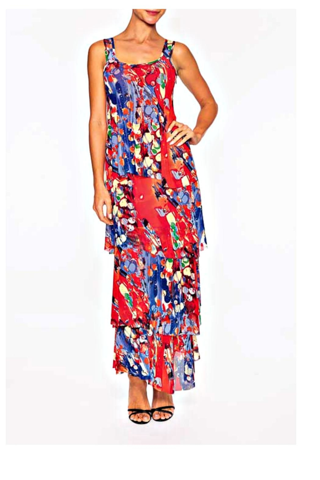 Elena Wang Red Floral Dress - Front Cropped Image