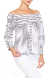 Elena Wang Striped Off The Shoulder Blouse - Product Mini Image