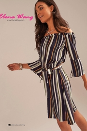 Elena Wang Striped Off The Shoulder Dress - Front full body