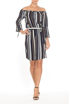 Elena Wang Striped Off The Shoulder Dress - Product List Image