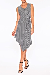 Elena Wang Striped V-Neck Dress - Product Mini Image