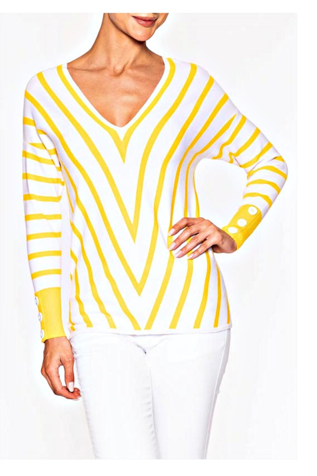 Elena Wang Yellow/white Chevron Sweater - Main Image