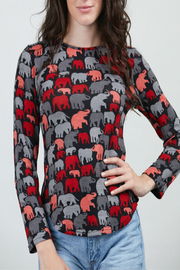 Patricia's Presents Elephant Print Sweater - Front cropped