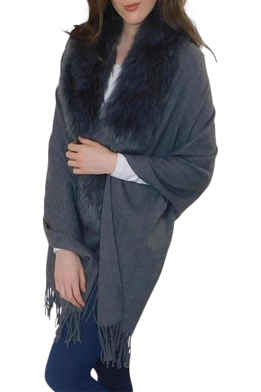 Elietian Fur Trimmed Shawl - Front Cropped Image