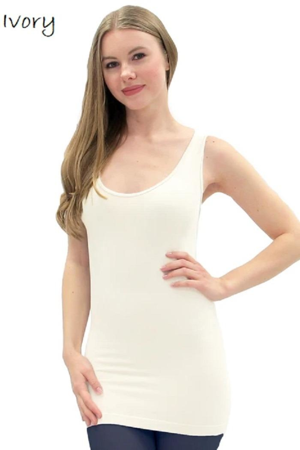 Elietian V-Neck Scoop Tank - Front Cropped Image