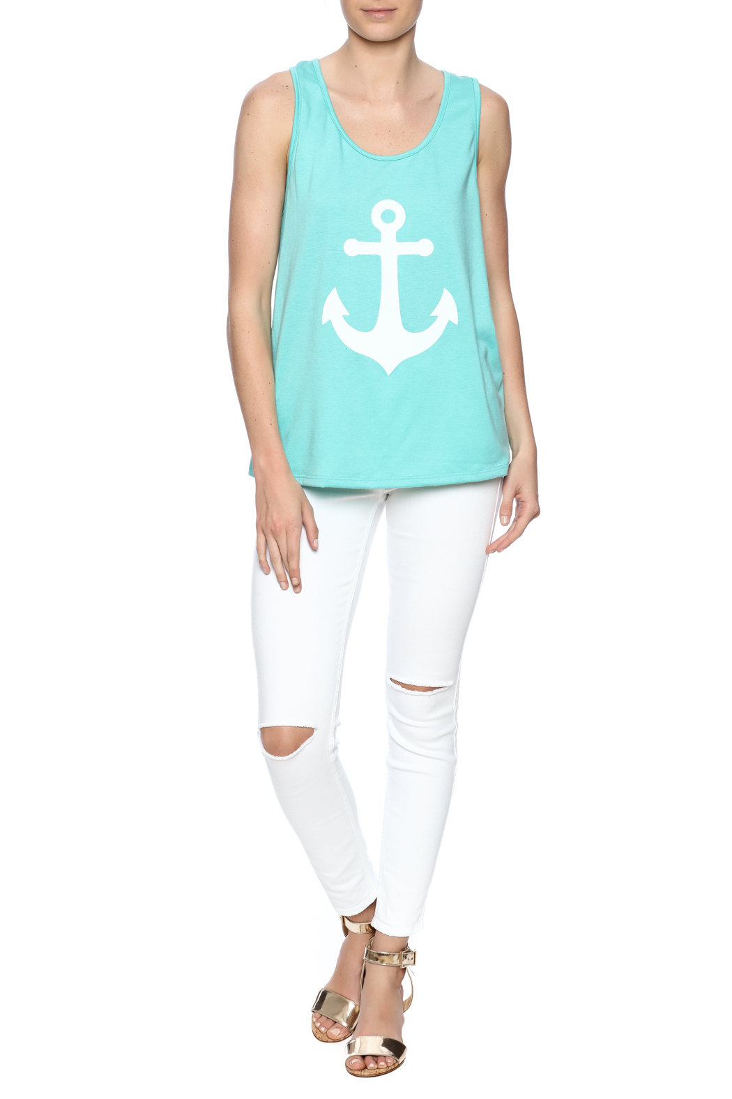 Elise Anchor Bow Top - Front Full Image