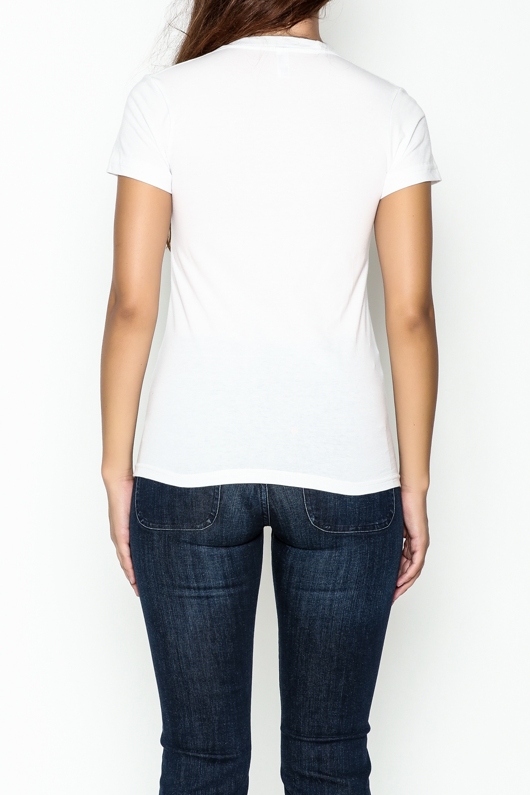 Elise Fitted White Tee - Back Cropped Image