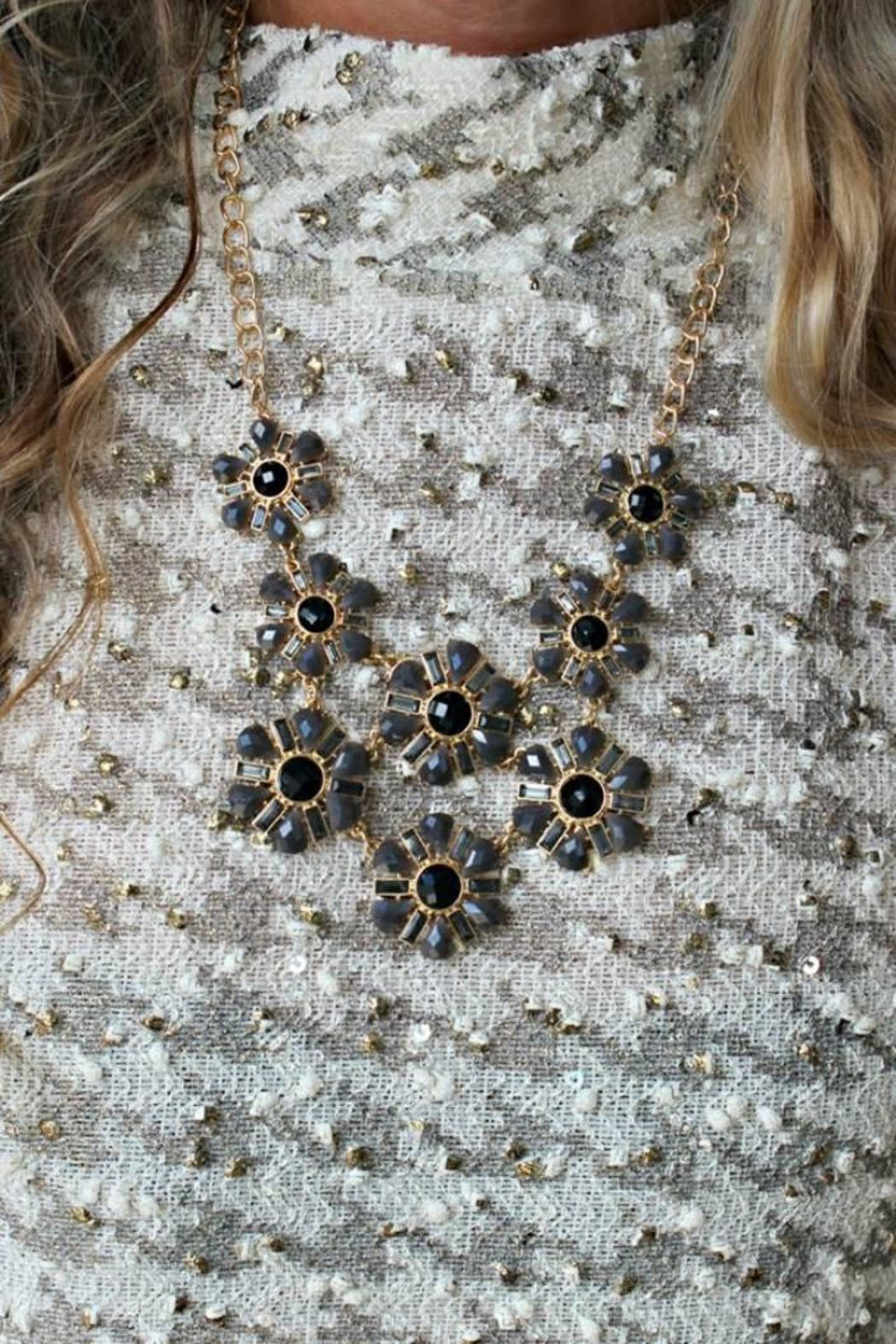 Elise Flower Bib Necklace - Main Image