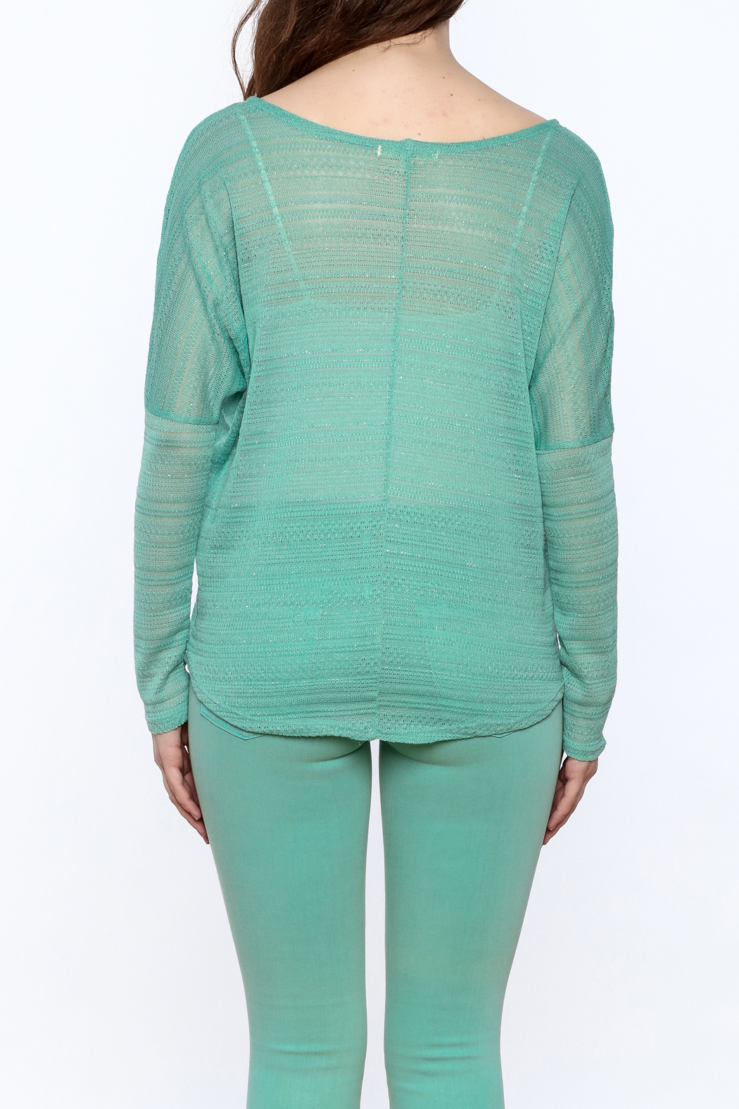 Elise Mint Green Knit Top - Back Cropped Image