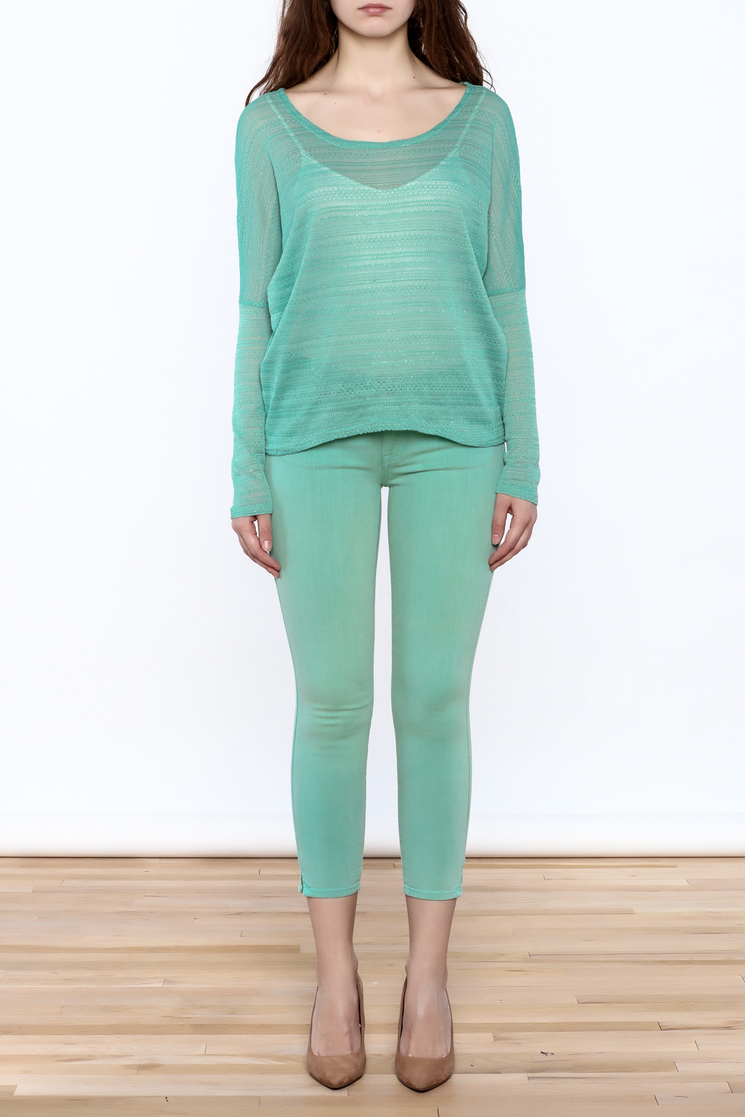 Elise Mint Green Knit Top - Front Full Image