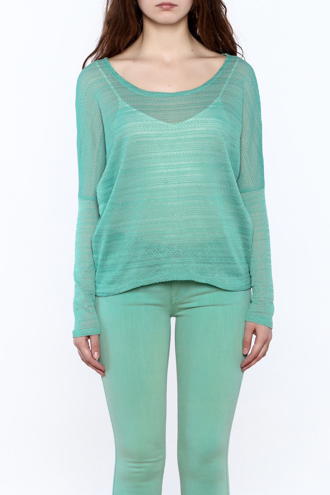 Elise Mint Green Knit Top - Side Cropped Image