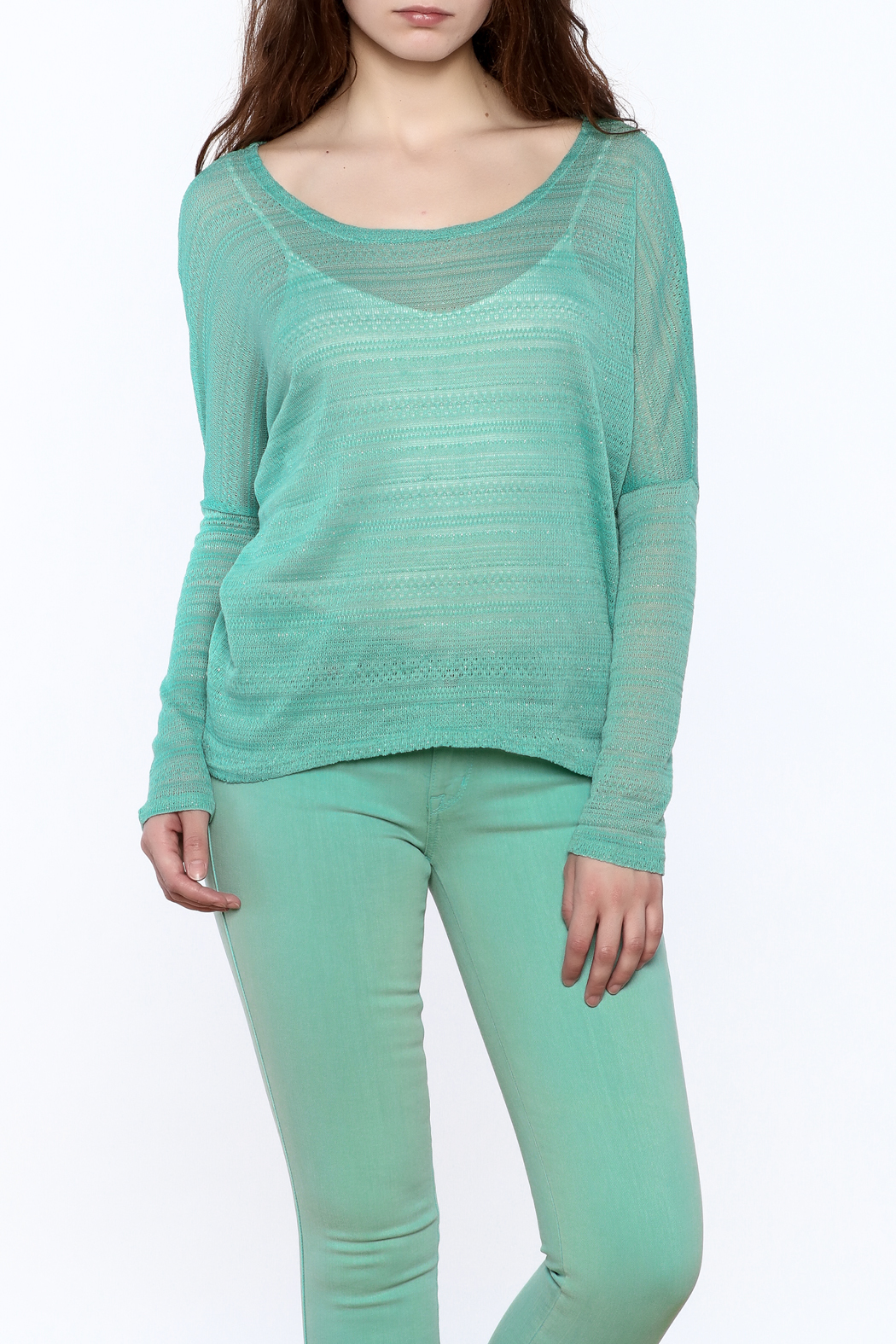 Elise Mint Green Knit Top - Main Image