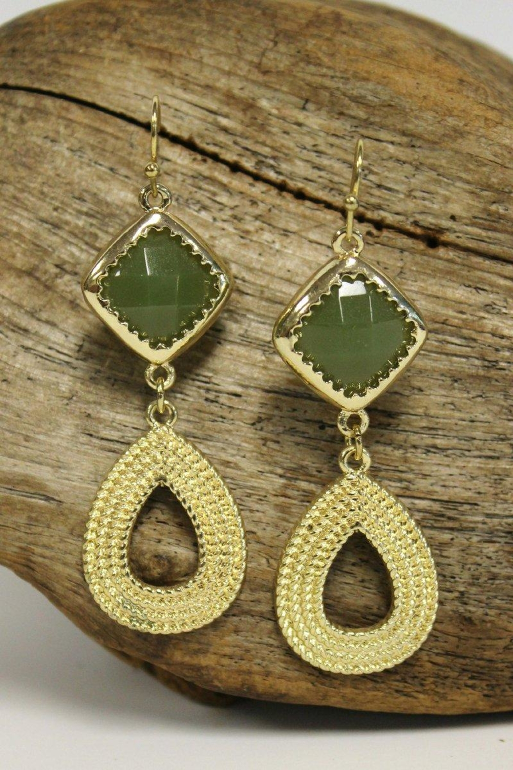 Elise Teardrop Earrings, Olive - Main Image