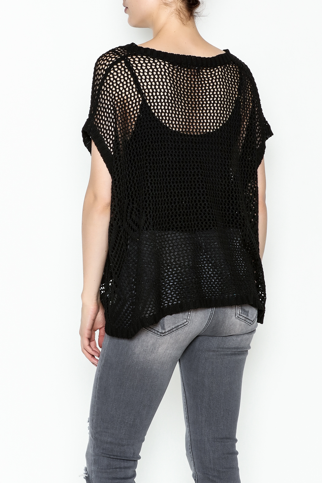 Elise Woven Knit Pullover - Back Cropped Image