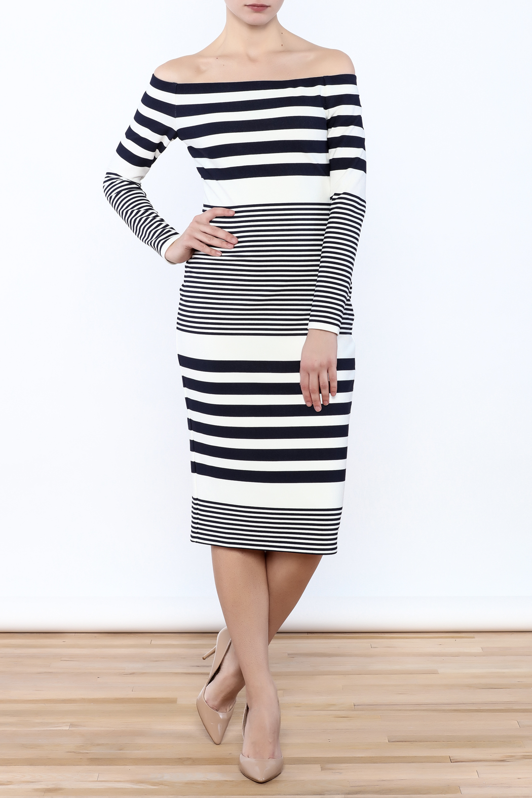Eliza J Off Shoulder Striped Dress - Main Image