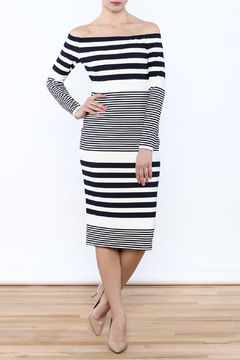 Shoptiques Product: Off Shoulder Striped Dress