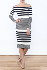 Eliza J Off Shoulder Striped Dress - Front cropped