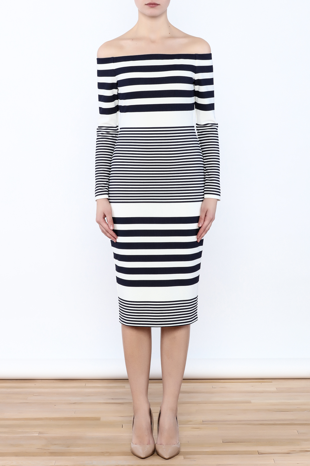 Eliza J Off Shoulder Striped Dress - Front Full Image