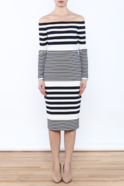 Eliza J Off Shoulder Striped Dress - Front full body