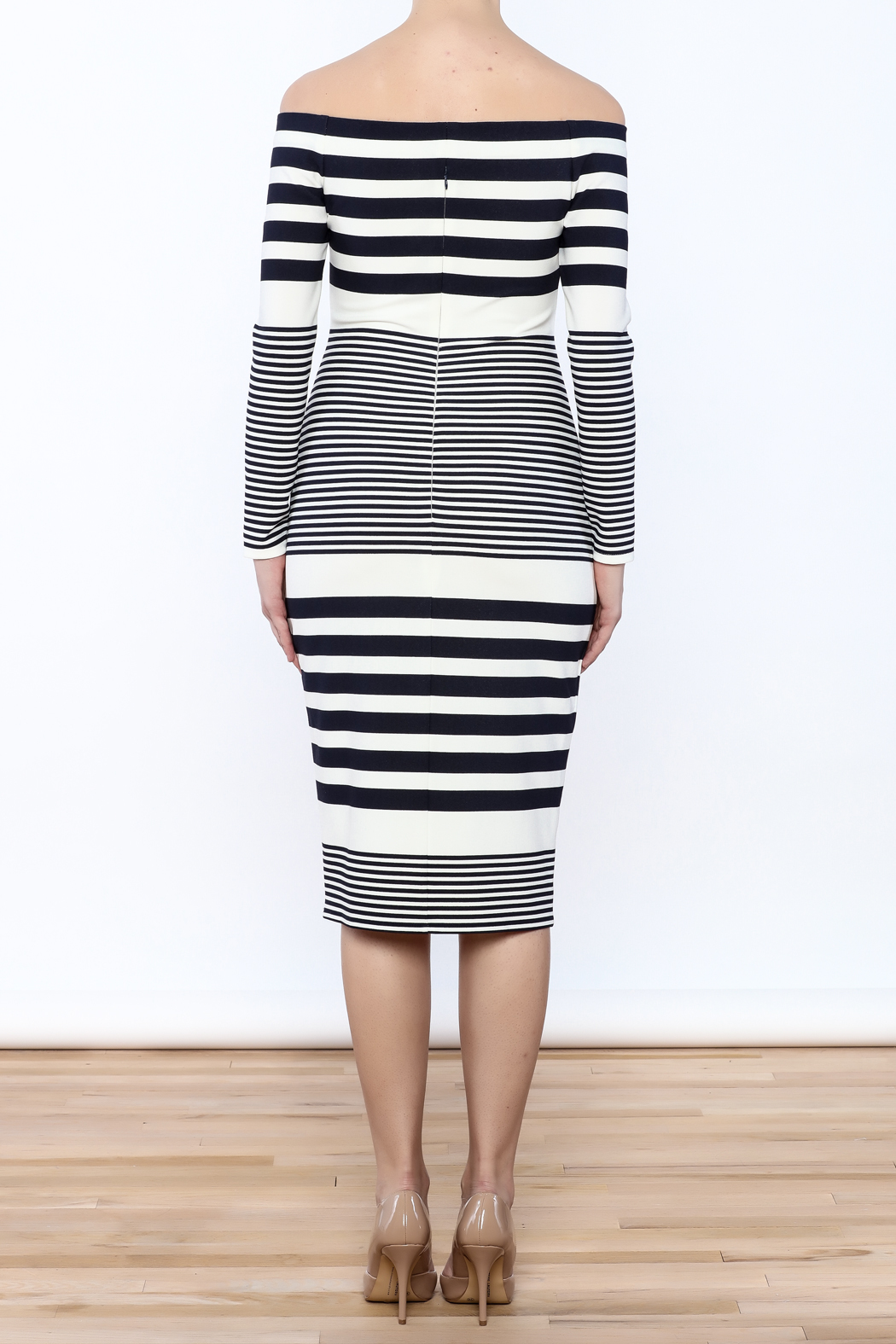 Eliza J Off Shoulder Striped Dress - Back Cropped Image