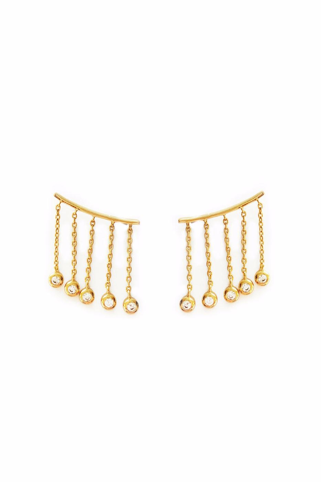 Elizabeth Stone Cz Ear Climbers - Front Cropped Image
