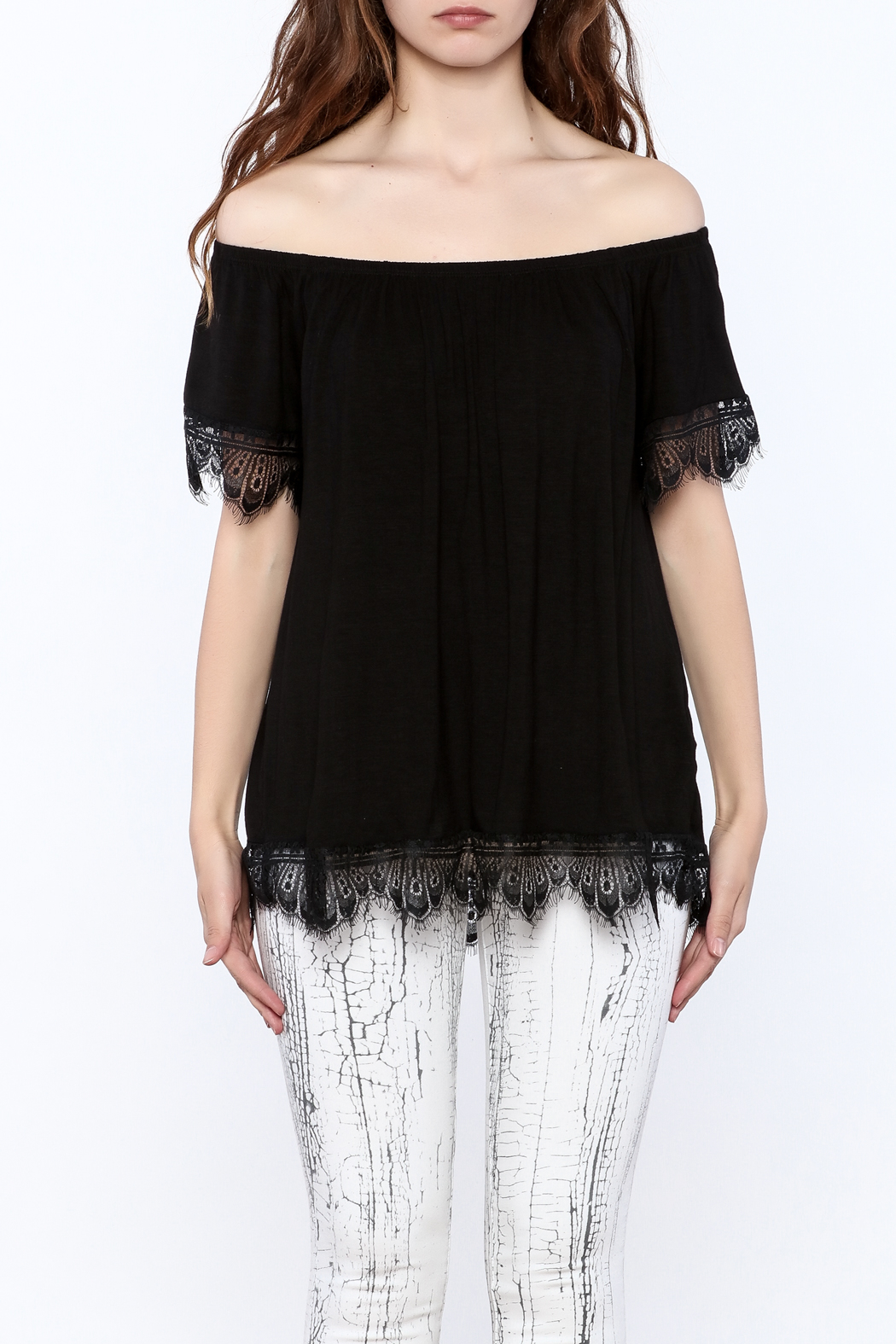 Ella Mara Black Off Shoulder Blouse - Side Cropped Image