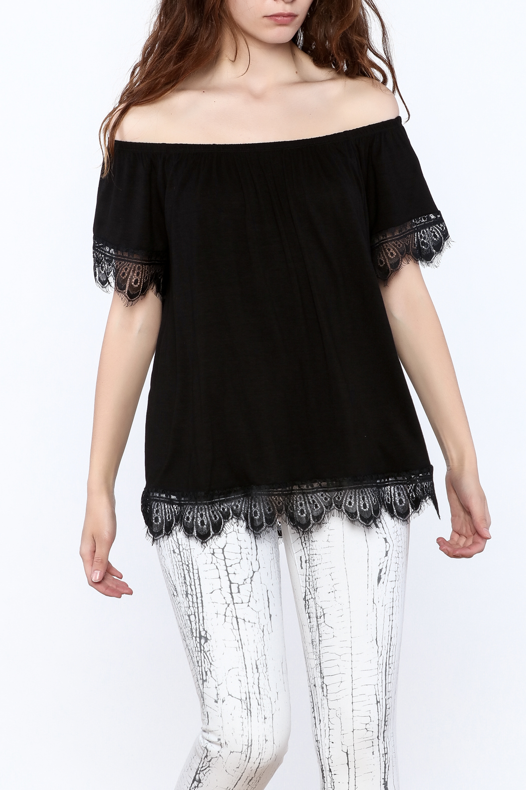 Ella Mara Black Off Shoulder Blouse - Front Cropped Image