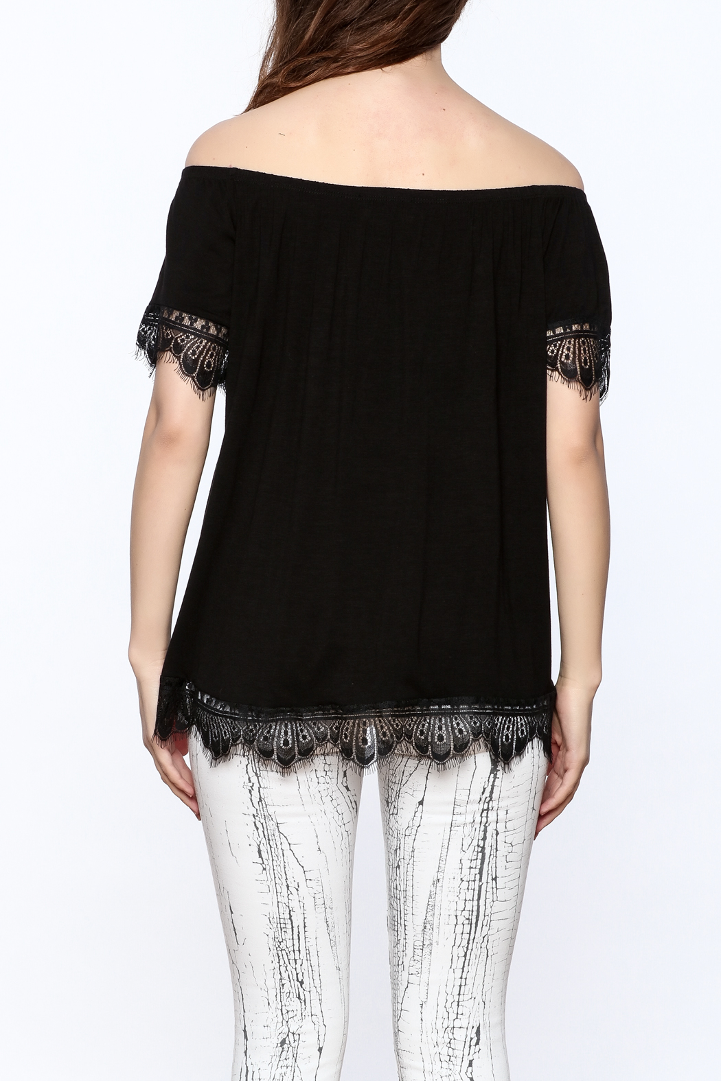 Ella Mara Black Off Shoulder Blouse - Back Cropped Image