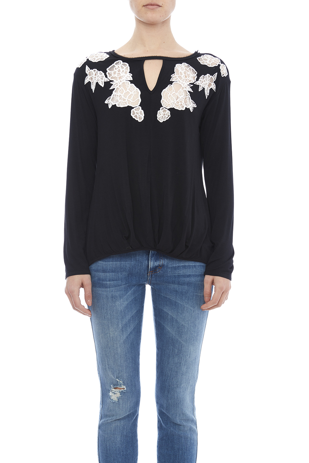 Ella Moss Lace Inset Top - Side Cropped Image