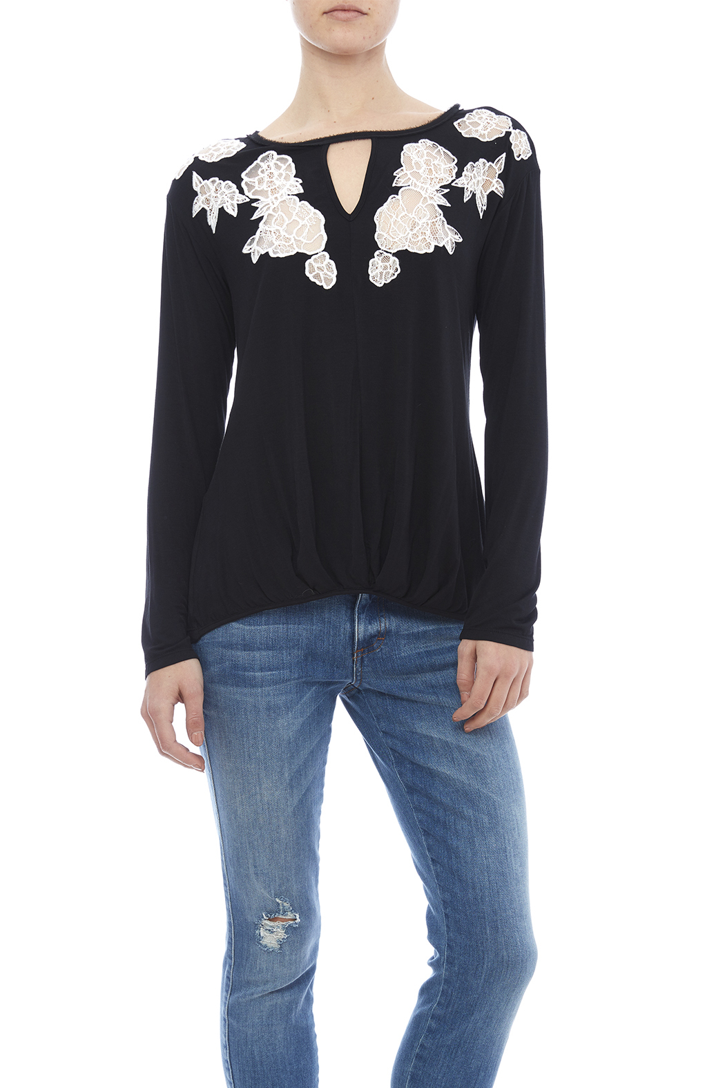 Ella Moss Lace Inset Top - Front Cropped Image