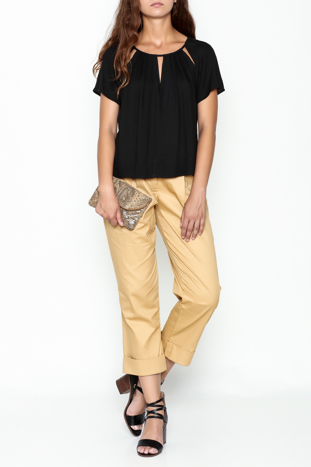 Ella Moss Cutout Collar Top - Side Cropped Image