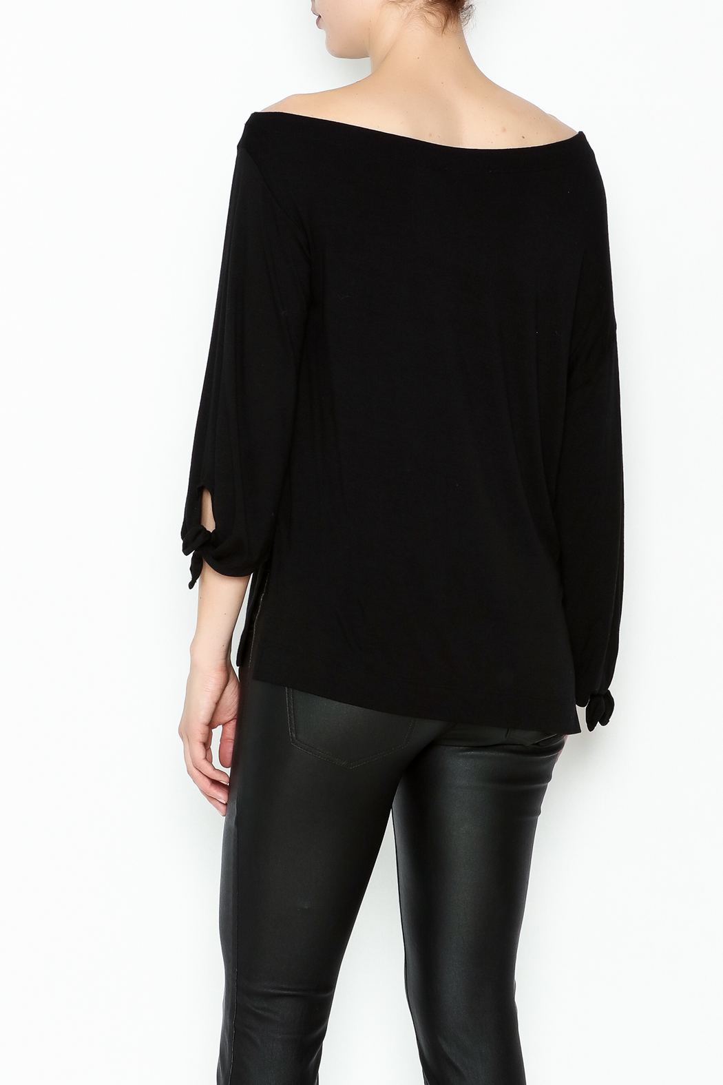Ella Moss Black Off Shoulder Top - Back Cropped Image